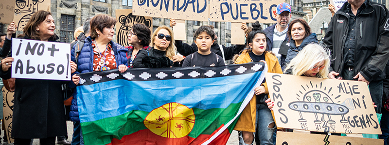 Chile protest Amsterdam Dam Oscar Brak Fotografie
